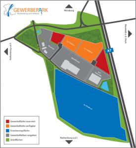 Plan des Gewerbeparks mit der Markierung der verfügbaren Flächen