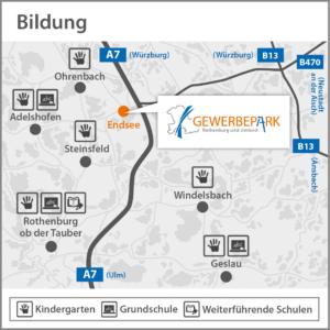 Landkarte mit Bildungseinrichtungen im Umland des Gewerbparks